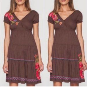 JOHNNY WAS brown floral embroidered midi dress XS